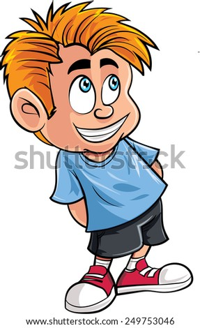 Cartoon of cute little boy. Isolated on white - stock vector