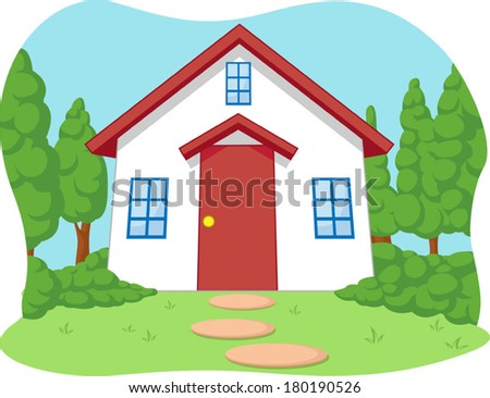 Cartoon of Cute Little House with Garden - stock vector