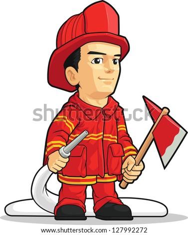 Cartoon of Firefighter Boy - stock vector