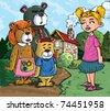 Cartoon of Goldilockes and the three bears infront of the bears house - stock vector