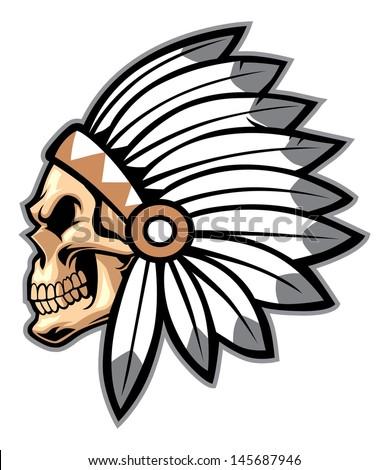 cartoon of indian chief skull - stock vector