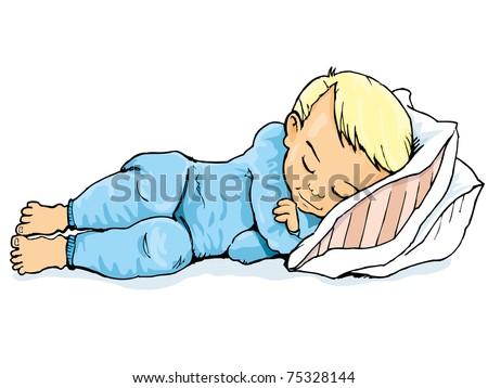 Cartoon of little boy sleeping on a pillow. Isolated on white - stock vector