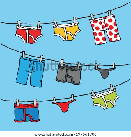 Cartoon of men's underwear hanging on a clothesline.