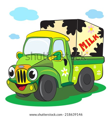 Cartoon of merry truck-car transporting milk.