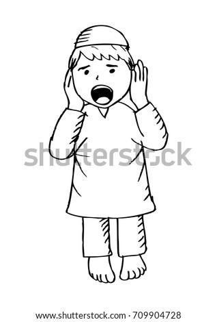 Cartoon Of Muslim Kid Adzan