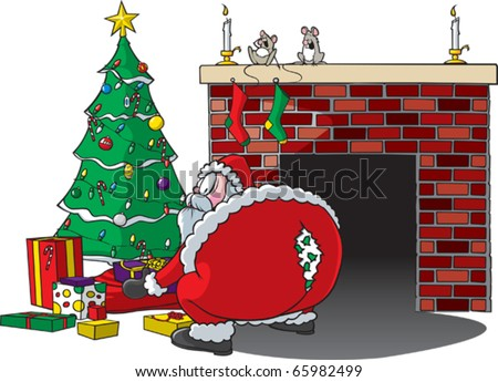 Cartoon of Santa bending over and ripping pants. Layered vector file available. - stock vector