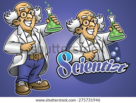 Cartoon of scientist wear the lab cloth - stock vector