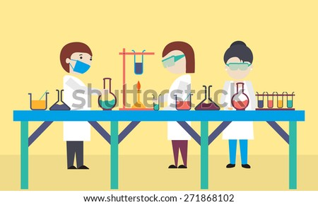 Cartoon of scientists working in science laboratory on yellow background. - stock vector