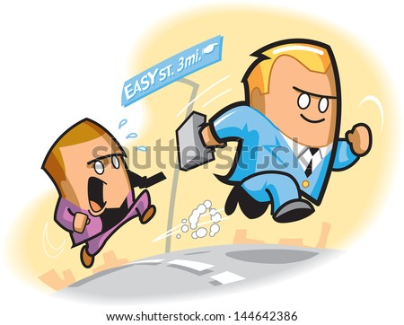Cartoon of two businessmen competing for financial security - stock vector
