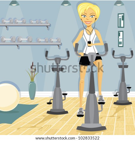 Cartoon of woman at the gym on an exercise bike - stock vector