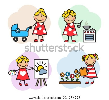 Cartoon of women are employed in different hobby. She paints, walking with a stroller, watering flowers and cooks - stock vector