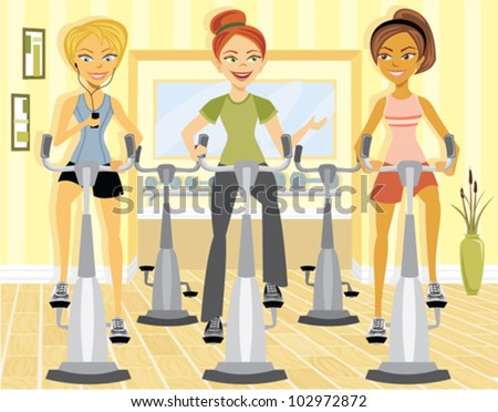 Cartoon of women at a class in a gym - stock vector