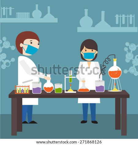 Cartoon of young scientists doing research in a laboratory on blue background. - stock vector