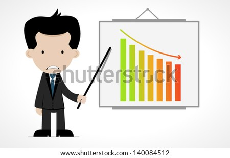 cartoon office worker with graphic - stock vector