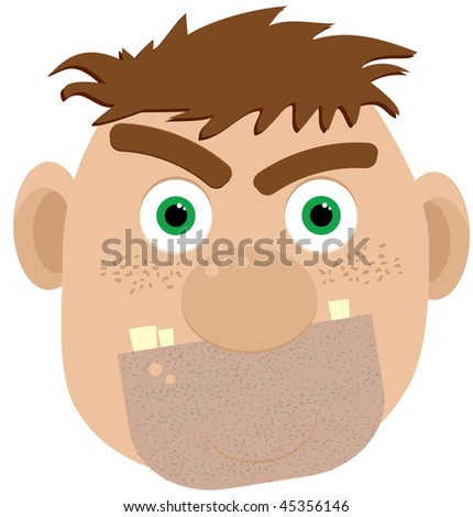 Cartoon ogre, vector illustration, without gradients and meshes - stock vector