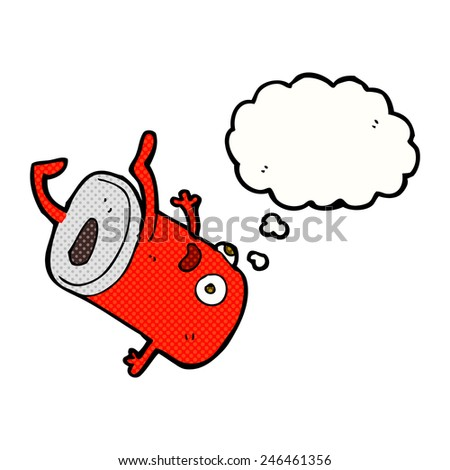 cartoon old drinks can with thought bubble - stock vector