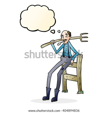 cartoon old farmer leaning on fence with thought bubble - stock vector