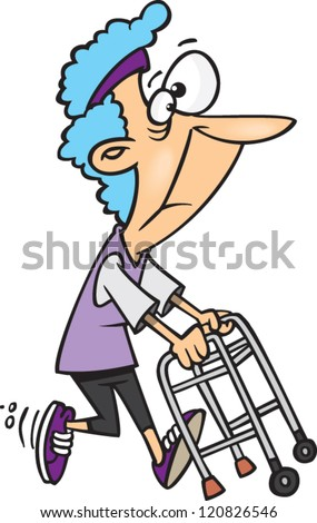 cartoon old lady granny running with a walker - stock vector