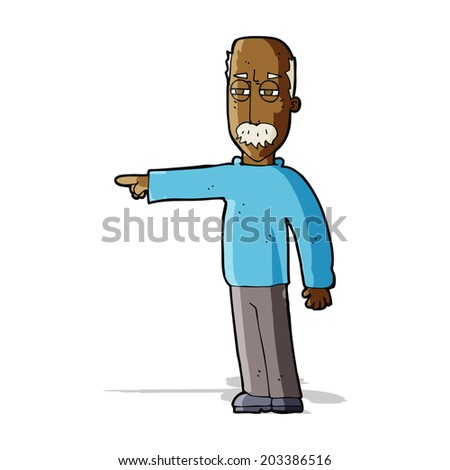 cartoon old man gesturing Get Out! - stock vector