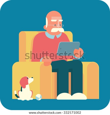 Cartoon old man sitting in armchair and using a tablet pc. The dog is looking at him. - stock vector