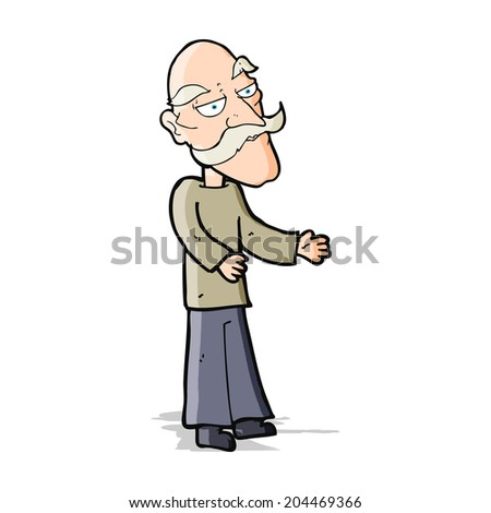 cartoon old man with mustache - stock vector