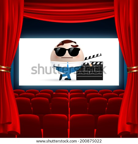 cartoon on cinema screen - stock vector