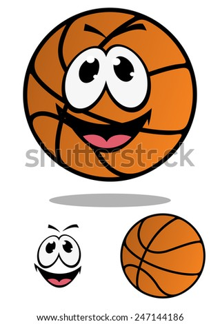 Cartoon orange basketball ball character as sporting mascot with smiling face and shadow below him - stock vector