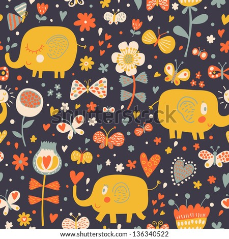 Cartoon orange elephants in flowers with butterflies. Seamless pattern can be used for wallpapers, pattern fills, web page backgrounds, surface textures. Gorgeous childish seamless background - stock vector