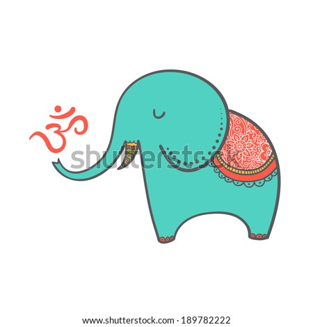 Cartoon oriental elephant in Indian style with om symbol. Vector illustration can be used as a greeting card. - stock vector