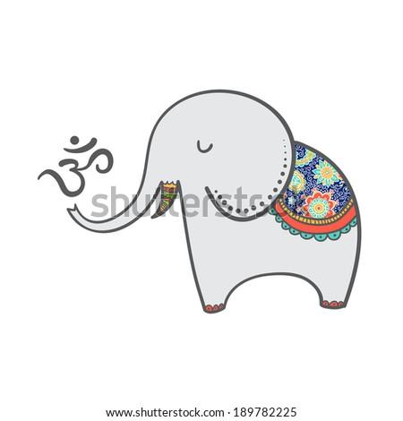 cartoon oriental elephant indian style om stock vector 189782225 shutterstock. Black Bedroom Furniture Sets. Home Design Ideas