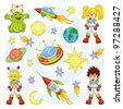 Cartoon outer space set - stock photo