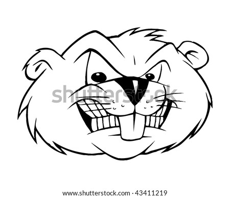 cartoon outline vector illustration of a beaver - Cartoon Outline Drawings
