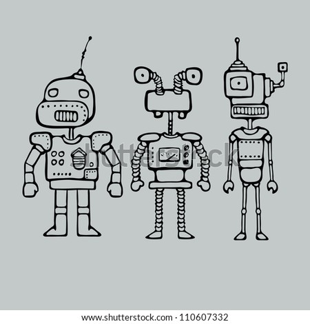 Cartoon outlines drawing with three robots, vector illustration - stock vector