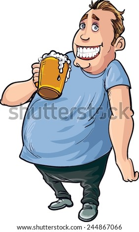 Cartoon overweight beer drinker. Isolated on white