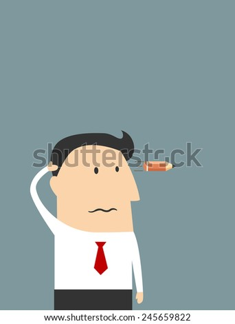 Cartoon overworked businessman with fingers near his temple showing head shot gesture with pencil as a bullet for burnout syndrome concept design - stock vector
