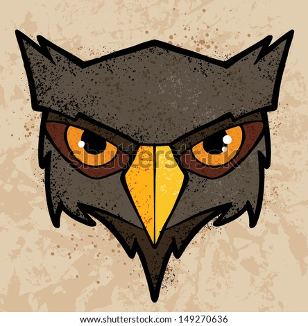 Cartoon owl illustration with color and texture - stock vector