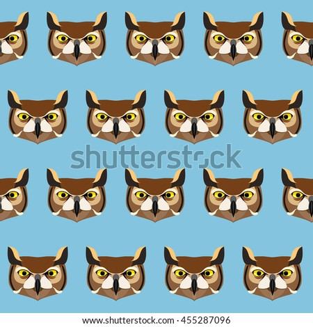 Cartoon owl portrait isolated on blue seamless pattern background. - stock vector