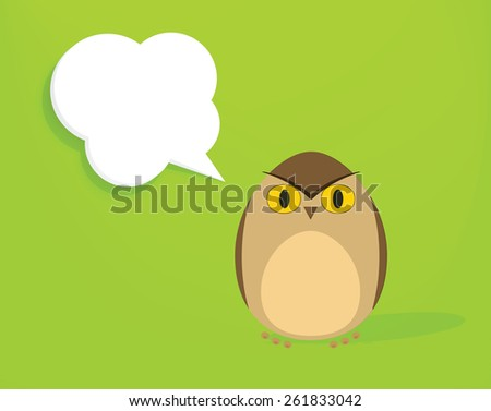 cartoon owl with speech bubble - stock vector