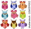 Cartoon owls - stock photo