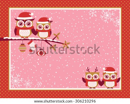 cartoon owls family red christmas greeting