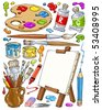 Cartoon Painting Tools - Clip-Art Color - stock photo
