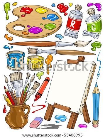 Cartoon Painting Tools - Clip-Art Color - stock vector