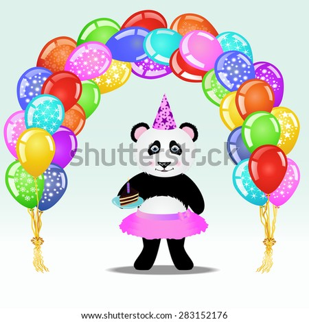 Cartoon panda in party hat with birthday cake standing under birthday balloon arch. Birthday background. EPS 10 vector illustration - stock vector