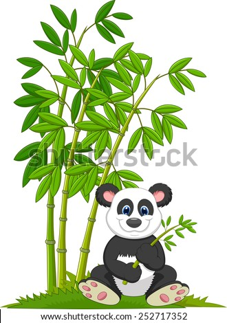 Cartoon panda sitting and eating bamboo - stock vector