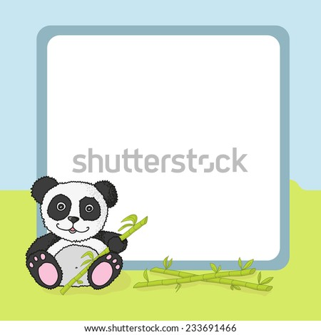 Cartoon panda with frame. Vector illustration - stock vector
