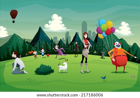 Cartoon park city  vector illustration with people - stock vector