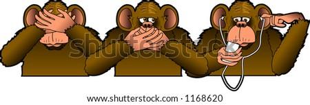 Cartoon parody depicting the THREE WISE MONKEYS - stock vector
