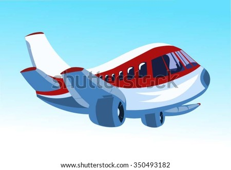 Cartoon Passenger airliner flight in the blue sky - stock vector