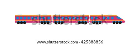 Cartoon passenger train with colorful blocks isolated over white and toy train vector set. Flat train color railroad and cartoon cargo train fun leisure joy gift. Passenger transportation - stock vector