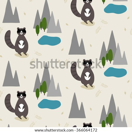 Cartoon pattern with cute raccoon in the forest. Vector illustration